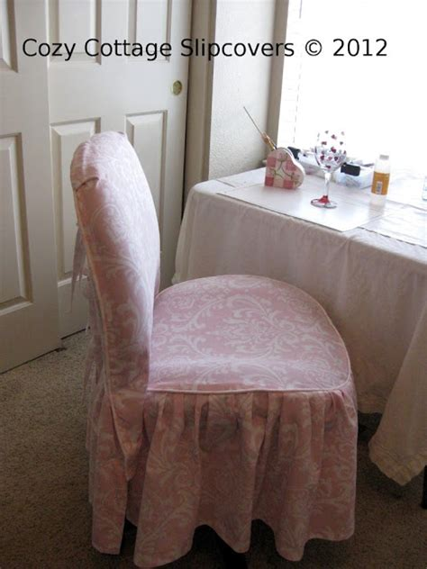 pink slipcover chair cozy cottage slipcovers pink damask office chair slipcover