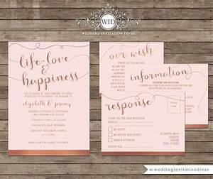 wedding invitation printable template set rose gold foil With rose gold foil wedding invitations diy