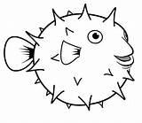 Coloring Puffer Fish Cartoon sketch template