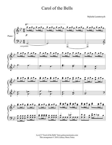 Your source for free christmas piano sheet music. Carol of the Bells: Advanced piano solo sheet music | Christmas