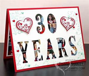 30th anniversary card featuring stampin39 up large letter With letter cut out stamps