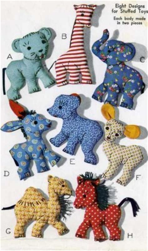 vintage stuffed toy pattern  easy  sew animals