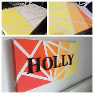 canvas art used masking tape and acrylic paint then With masking letters for painting