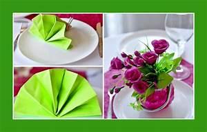 Servietten Falten Frühling : deko idee f r eine hochzeitsfeier rosa rosen und hellgr ne servietten ~ Eleganceandgraceweddings.com Haus und Dekorationen