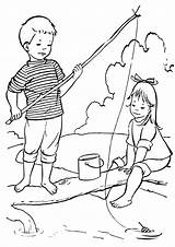 Fishing Coloring Pages Rod Print sketch template
