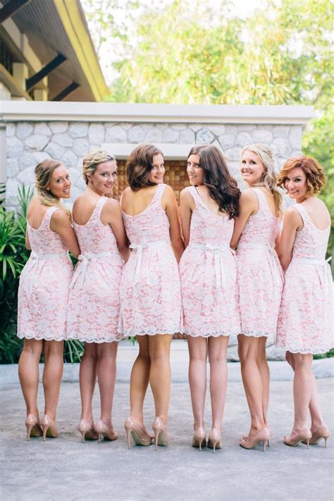 pink lace bridesmaid dresses lace pink bridesmaids dresses wedding touch