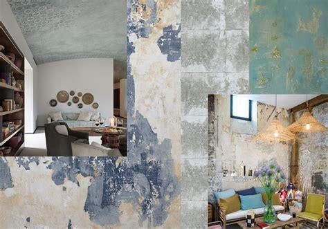 cuisine d été aménagement murs effet patiné à l 39 ancienne tendance les murs usés