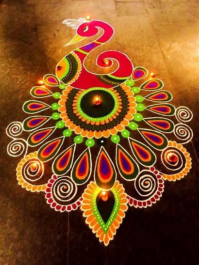 Rangoli Diwali Designs Peacock Colorful Pattern Greetings
