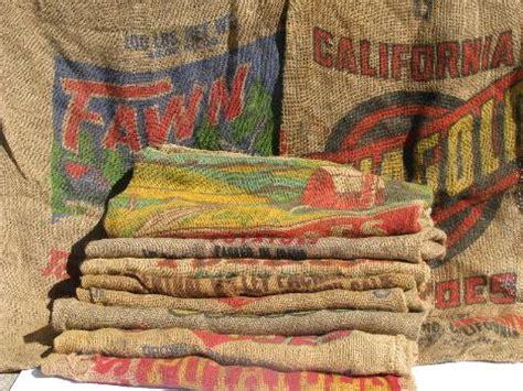 vintage farm primitive burlap potato bags  bright