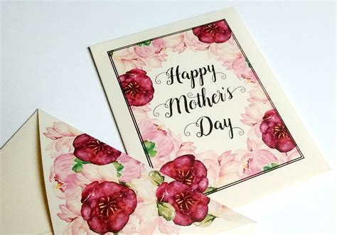 mini mothers day card  printable  envelope