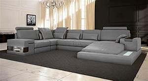 Sofa U Form Grau : ledersofa grau wohnlandschaft leder sofa couch u form ecksofa ledercouch eckcouch mit led licht ~ Markanthonyermac.com Haus und Dekorationen