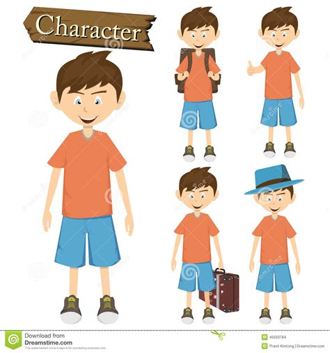 Images Of Characters Boy Character Set Vector Illustration Stock Vector Image