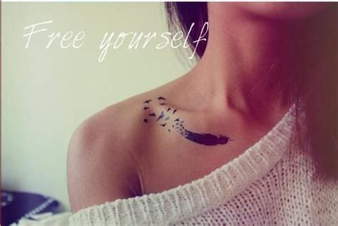 collarbone feather pretty cool tattoos feather