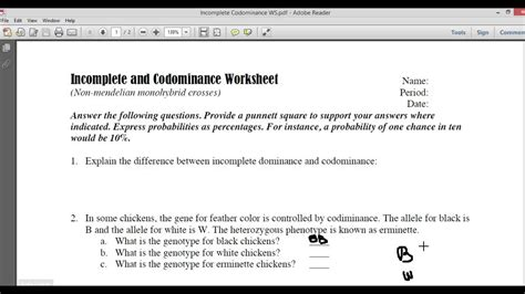 Incomplete And Codominace Worksheet Part1 Youtube