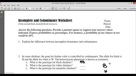 Codominance Multiple Alleles Worksheet  Multiple Alleles Worksheet Answers In Plete Dominance