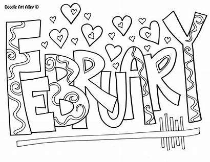 Coloring Months February Pages Calendar Doodle Classroom