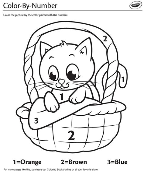 kindergarten color by number kitten in a basket color by number coloring page crayola