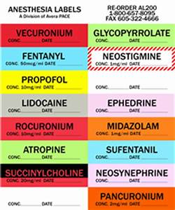 Multi drug packs item al200 for Anesthesia medication labels