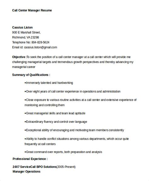 Call Centre Manager Resume by Cv Template Call Center