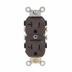 Leviton 20 Amp Commercial Duplex Outlet  Brown-r50-cbr20-000