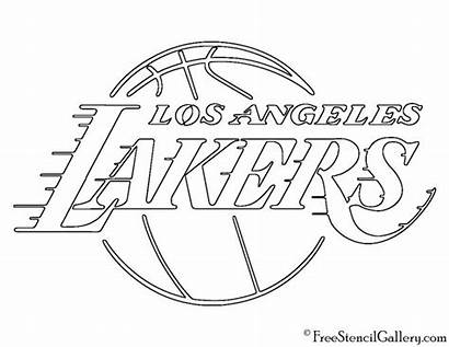 Lakers Stencil Nba Angeles Los Coloring Pages