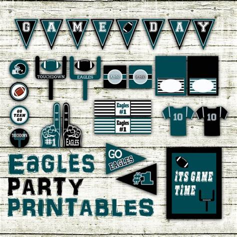 eagles football party printables  decorations printable