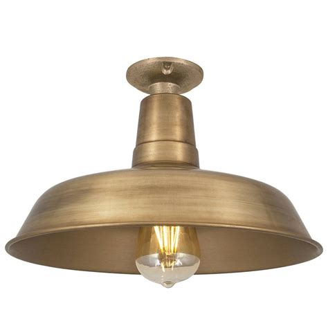 vintage industrial style flush mount farmhouse brass