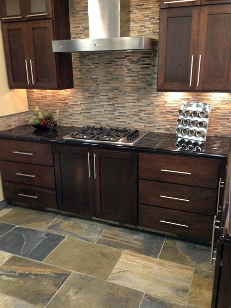 kitchen tile mosaics glass mixed mosaic backsplash with oversized slate 3267