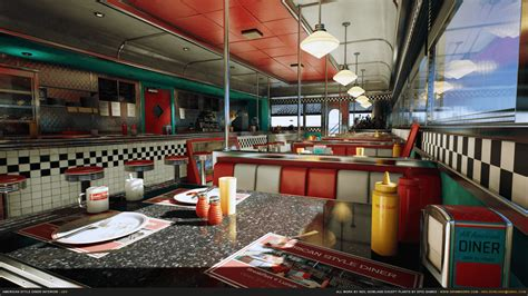 American Style Diner Interior By Grimmsorg Studios In