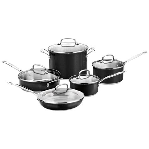 cuisinart  piece stainless steel cookware set black cookware sets  buy canada