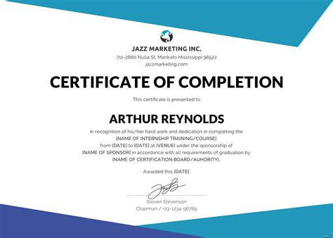 completion certificate template  adobe