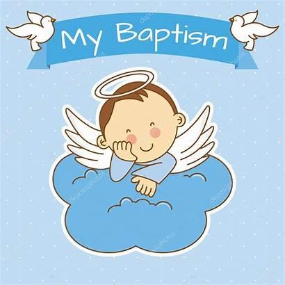 Baptism Angel Boy Christening Vector Illustration Wings