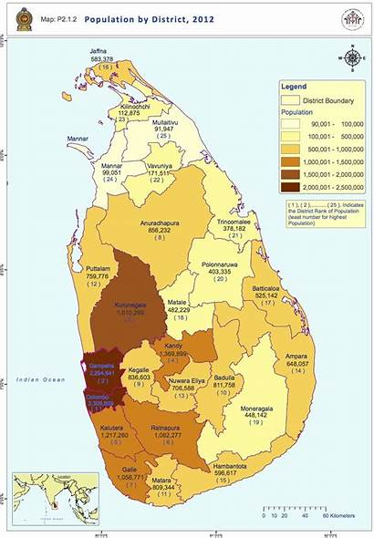 Lanka Sri Population Districts Carte Populationdata Cartes