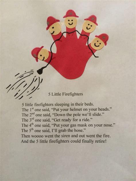 five firefighters poem daycare craft ideas 949 | dad42b805dbb87f7d0911a357f501d60 preschool songs preschool crafts
