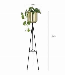 Cache Pot Sur Pied : cache pot sur pied en m tal noir et laiton dor ~ Premium-room.com Idées de Décoration