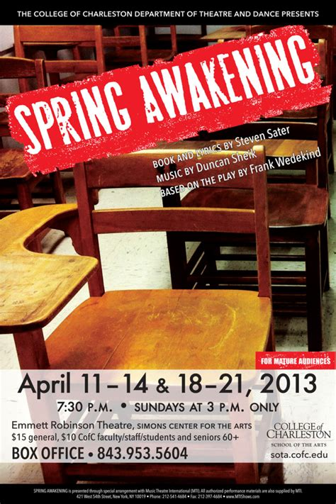 spring awakening college  charleston department