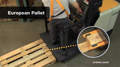 Variable Pallet Clamp: Crown SP 4000 Order Picker - YouTube