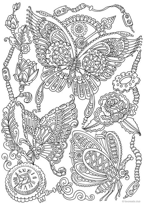 steampunk butterflies printable adult coloring page