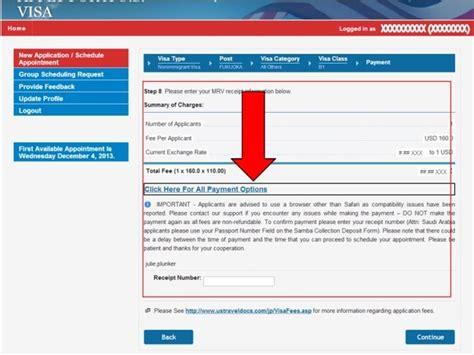 ein  visum beantragen bank und zahlungsoptionen