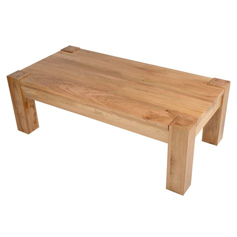 Balmoral Sold Oak Rectangular Coffee Table Chunky Wooden