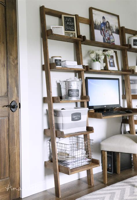 make a desk out of bookshelves ana white leaning ladder wall bookshelf diy projects