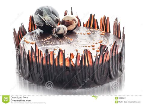 birthday chocolate cake with chocolate decoration of cake patisserie