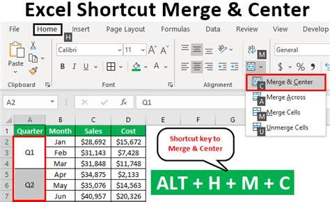 excel shortcut  merge  center top  methods