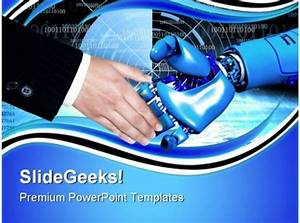 Handshake With Robot Communication Powerpoint Templates