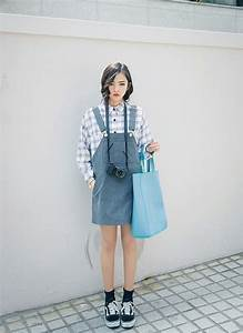 Dungaree dress Ulzzang and Style on Pinterest
