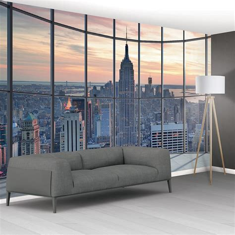 wall  york city scape window view mural wallpaper
