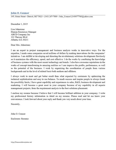 cover letter template business analyst