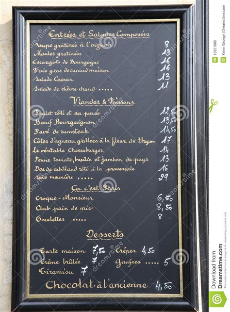 french language menu paris france royalty  stock