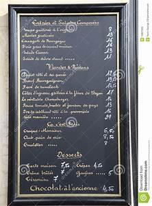 French, Language, Menu, Paris, France, Stock, Image