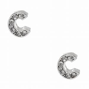 silver tone clear crystal initial letter c stud earrings With silver letter stud earrings